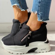 Mulheres Pano Malha Casual Outdoor com Zíper sapatos