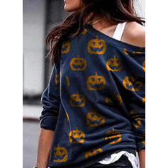 Drucken Halloween One Shoulder Lange Ärmel Pullover
