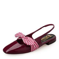 Frauen Lackleder Flascher Absatz Flache Schuhe Geschlossene Zehe Slingpumps Mary Jane mit Bowknot Gummiband Schuhe