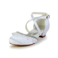 Kinder Satin Niederiger Absatz Geschlossene Zehe Flache Schuhe mit Strass Rüschen