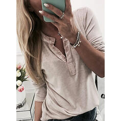 Solid Sequins V-Neck Long Sleeves Button Up Casual Blouses