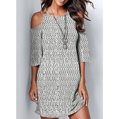 Print 3/4 Sleeves/Cold Shoulder Sleeve Sheath Above Knee Casual Dresses