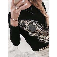 Beaded Print Round Neck Long Sleeves T-shirts