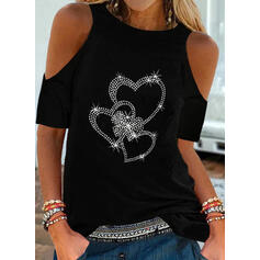 Sequins Heart Cold Shoulder 1/2 Sleeves Casual Blouses