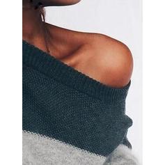 Bloco de Cor Sem Ombros Camisola-vestido