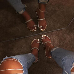 Vrouwen PU Flat Heel Sandalen Peep Toe met Strass schoenen