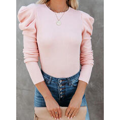 Solid Round Neck Puff Sleeves Long Sleeves Elegant Knit Blouses