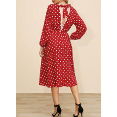 PolkaDot Long Sleeves A-line Midi Casual/Elegant Dresses