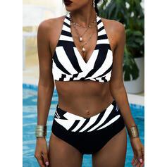 Streep Hoge Taille Print Halter V-hals Sexy Vintage Grote maat Bikini's Badpakken