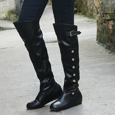 Women's PU Low Heel Knee High Boots With Button shoes
