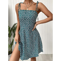 Print/Floral Sleeveless A-line Above Knee Casual Slip/Skater Dresses
