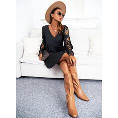 Solid Dantel Mâneci Lungi Shift Elbiseleri Până la Genunchi Negre/gündelik Tunică Elbiseler