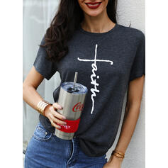 Print Letter Knit Round Neck Short Sleeves Casual Blouses