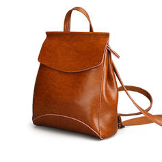 Chic Women Second Cowhide Leather Multi Pockets Casual Backpack