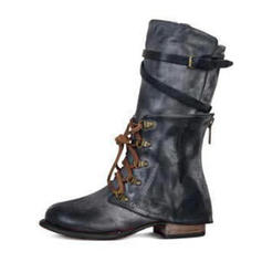 Women's PU Flat Heel Flats Closed Toe Boots Mid-Calf Boots With Lace-up shoes