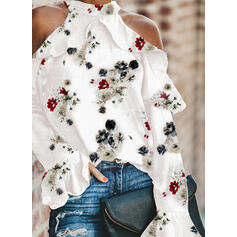 Stampa Floreale Spalle esposte Maniche lunghe Casuale Camicie
