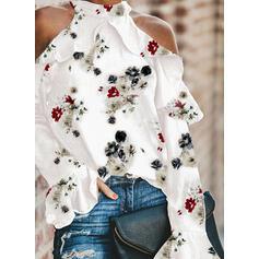 Estampado Floral Ombros à Mostra Manga Comprida Casual Blusas