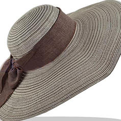Ladies' Handmade/Hottest Polyester/Linen/Straw With Bowknot Straw Hats/Beach/Sun Hats