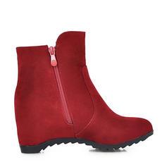 Vrouwen Suede Wedge Heel Wedges Laarzen Enkel Laarzen met Rits schoenen