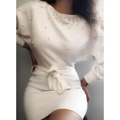 Jednolita/Wysadzana perełkami Długie rękawy Bodycon Nad kolana Elegancki Sukienki