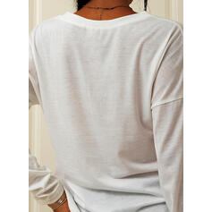 Print Letter Round Neck Long Sleeves