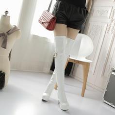 Naisten Kiiltonahka Piikkikorko Avokkaat Platform Kengät Knee saappaat jossa Vetoketju Muut kengät