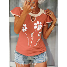 Print Floral Letter Round Neck Flare Sleeve Short Sleeves Button Up Casual Blouses