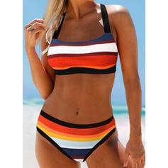 Stripe Splice color Halter Sexy Elegant Bikinis Swimsuits