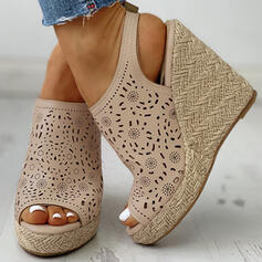 Women's Leatherette Wedge Heel Sandals With Stitching Lace shoes