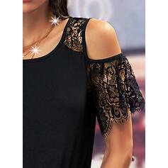 Jednolity Koronka Zimne ramię Krótkie rękawy cold ramion rękaw Nieformalny Bluzki
