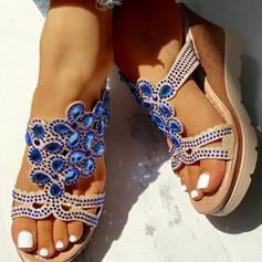 De mujer PU Tipo de tacón Sandalias Encaje Pantuflas con Rhinestone zapatos