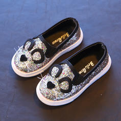 Girl's Leatherette Flat Heel Round Toe Flats With Sequin