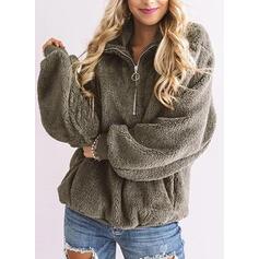 Solid Lapel Lange ærmer Sweatshirts