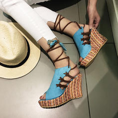 Femmes Suède Talon compensé Sandales Compensée avec Dentelle chaussures
