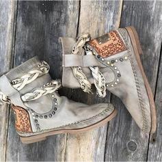 Femmes PU Talon plat Chaussures plates Bout fermé Bottes avec Rivet chaussures