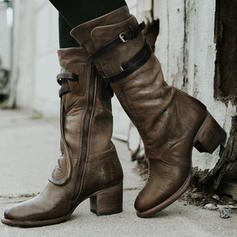 Women's PU Chunky Heel Boots With Zipper Lace-up shoes