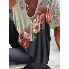 Print Bloemen V-hals Korte Mouwen Casual Overhemd