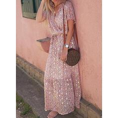 Print Short Sleeves A-line Casual/Boho/Vacation Maxi Dresses