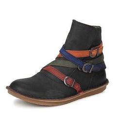Donna Similpelle Senza tacco Stivali con Fibbia scarpe