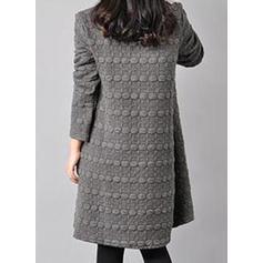Solid Long Sleeves Shift Knee Length Little Black/Casual Dresses