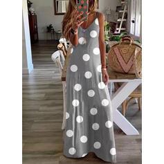 PolkaDot Sleeveless Shift Slip Casual Maxi Dresses