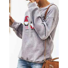 Print Round Neck Long Sleeves Casual Christmas Knit T-shirts