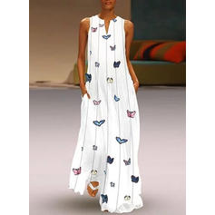 Print Sleeveless Shift Casual/Vacation Maxi Dresses