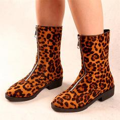 Frauen Veloursleder Stämmiger Absatz Stiefel mit Reißverschluss Schuhe