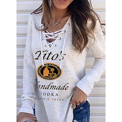 Print Figure V-Neck Long Sleeves Sweatshirt