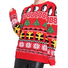 Stampa Cavo Knit Natale Girocollo Casual Natale Maglione di Natale brutto