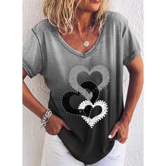 Pente Cœur Col V Manches Courtes T-shirts
