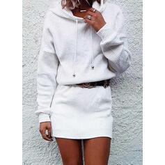 Couleur Unie Manches Longues Fourreau Au-dessus Du Genou Petites Robes Noires/Décontractée Robe Sweat Robes