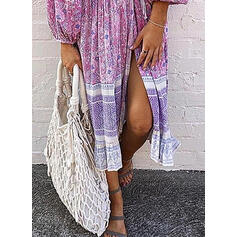 Print/Floral Long Sleeves A-line Wrap/Skater Casual/Boho/Vacation Midi Dresses