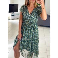 Print/Floral Short Sleeves A-line Skater Casual/Elegant Midi Dresses